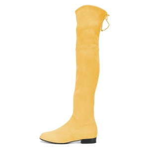 Yellow Round Toe Chunky Heels Long Boots Suede Over-the-knee Boots