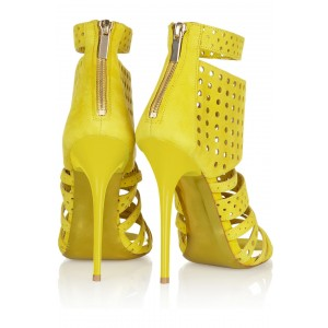 Yellow Stiletto Heels Hollow out Open Toe Strappy Sandals