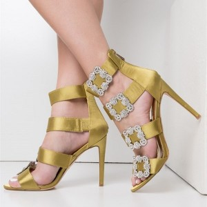Yellow Satin Stiletto Heels Rhinestone Buckle Strappy Wedding Shoes