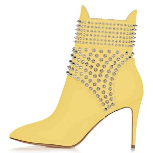 Yellow Studs Shoes Stiletto Heel Ankle Boots