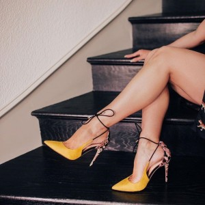 Yellow Suede and Python Tie Stiletto Heels Pointed Toe Pumps