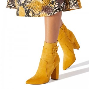 Yellow Suede Buckle Chunky Heel Boots Ankle Boots