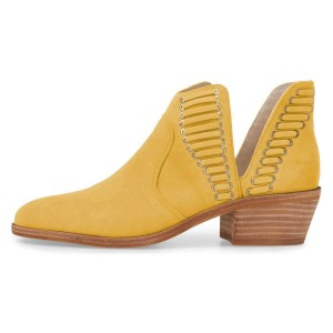 Yellow Suede Chunky Heel Ankle Boots Summer Boots