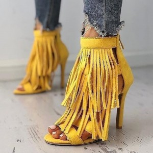 Yellow Suede Fringe Sandals Stiletto Heel Sandals