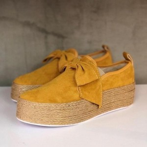 Mustard Suede Platform Bow Casual Shoes for Women