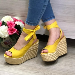 Yellow Suede Wedge Sandals Slingback Platform Sandals