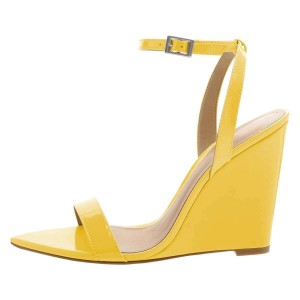 Yellow Wedge Heels Patent Leather Ankle Strap Sandals