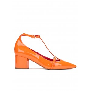 Women's Orange  T Strap Heels Pointy Toe Chunky Heels Pumps