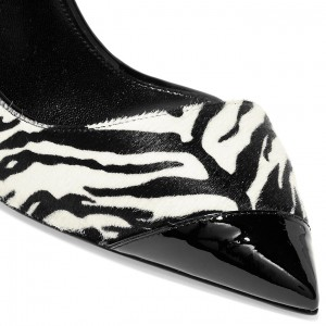 Black and White Zebra Pointy Toe Stiletto Heels Pumps Office Shoes