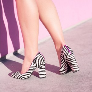 Zebra Horsehair Black and White Heels Pointy Toe Chunky Heel Pumps