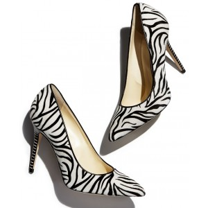 Zebra Horsehair Black and White Heels Pointy Toe Stiletto Heel Pumps