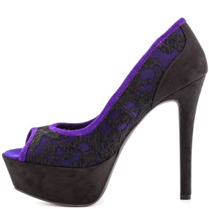 Women's Purple Leopard Peep Toe Stiletto Heel Pumps Platform Heels