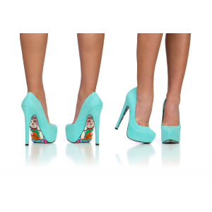 Cyan Floral Print Stiletto Heels Almond Toe Pumps Platform Shoes For Women