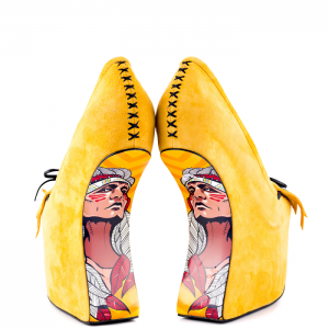 Women's Yellow Floral Print Wedge Shoes Tassels-fringe Almond Toe Heels