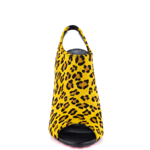 Women's Yellow Leopard Print Shoes Sling Black Stiletto Heels Sandals