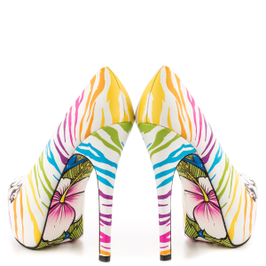 White Tiger-print Stiletto Heels Almond Toe Platform Shoes For Women