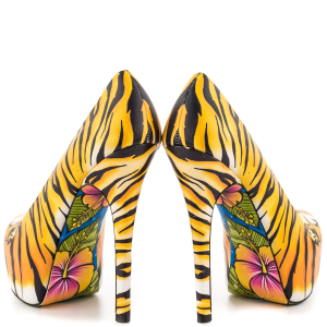 Women's Yellow Tiger-print Stiletto Heels Almond Toe Pumps Platform Shoes