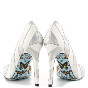 Silver And White Floral Stiletto Heels Pointy Toe Pumps For Women