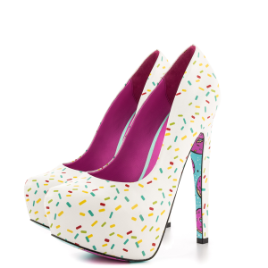 Women's White Floral Print Stiletto Heels Almond Toe Platform Shoes