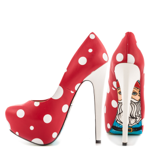 Red Santa Claus Print Stiletto Heels Almond Toe Platform Shoes