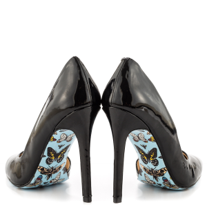 Women's Black Office Heels Floral Stiletto Heels Pointy Toe Shoes