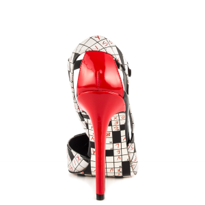 Black and White Mary Jane Pumps Red Cone Heels Fashion Shoes