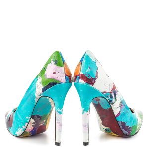 Graffiti Printed Pointy Toe Stiletto Heels Pumps For Women