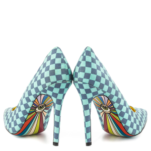 Blue Plaid Printed Pointy Toe Stiletto Heels Pumps for Women