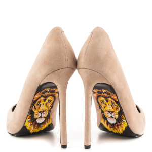 Lion Printed Stiletto Heels Pumps Pointy Toe Office Heels