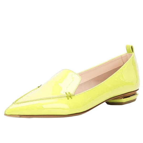 Yellow Pointy Toe Flats Patent Leather Loafers Comfortable Shoes