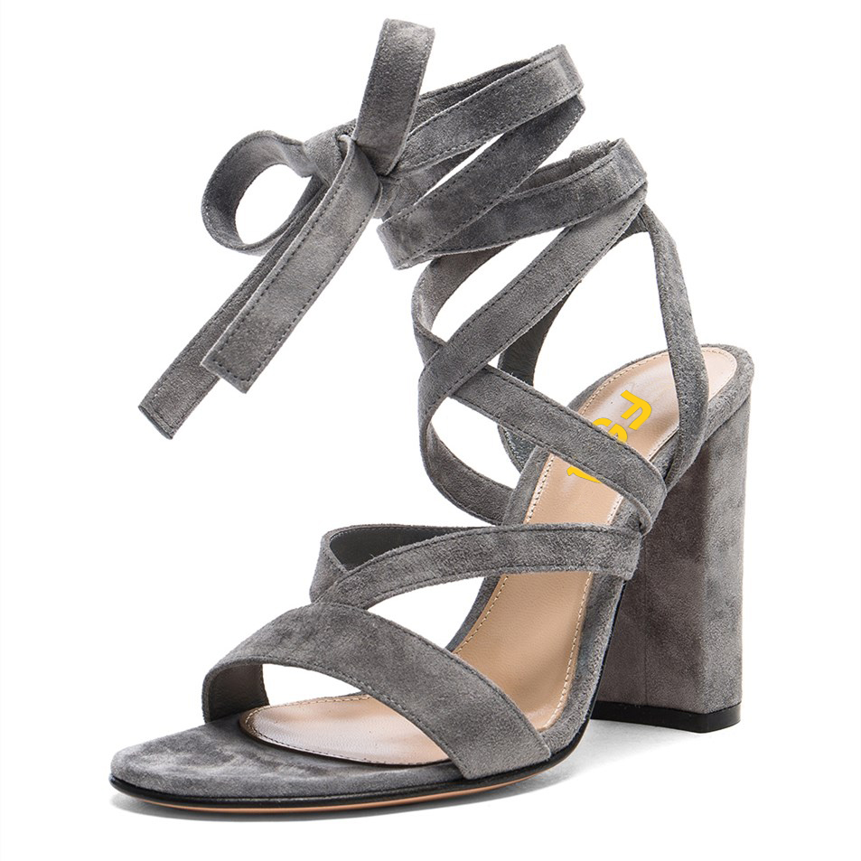 Women's Grey Soft Suede Chunky Heel Strappy Sandals