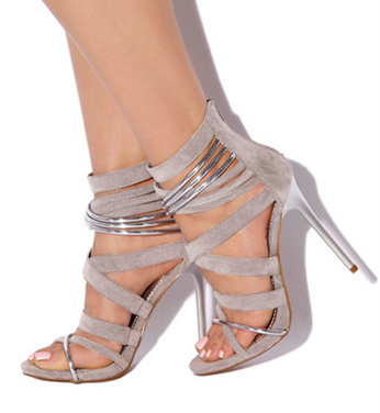 Women's Grey Suede Strappy Stiletto Heels Ankle Strap Sandals