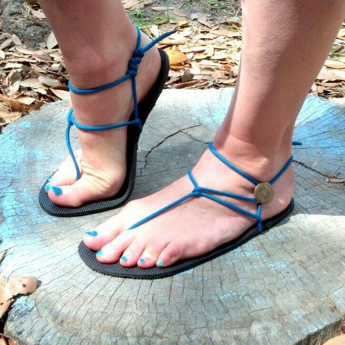 Women's Blue Thong Gladiator Sandals Comfortable Strappy Sandals Flats