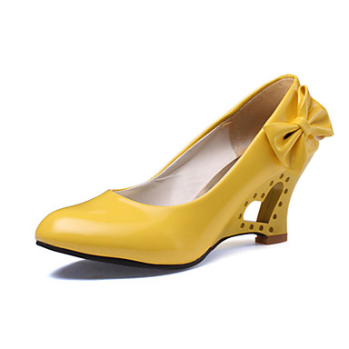Women's Yellow Bow Sweet Chunky Heels Pumps