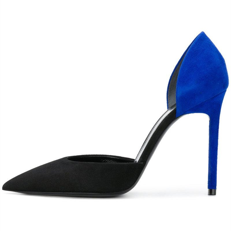 Royal Blue and Black Pointy Toe Double D'orsay Stiletto Heels Pumps