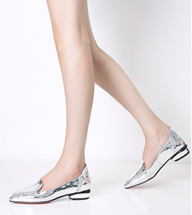 Women's Silver Mirror Leather Pointed Toe Comfortable Flats