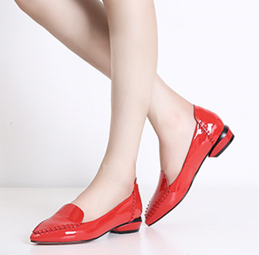 Women's Red  Leather Flats  Pointed Toe Vintage Shoes
