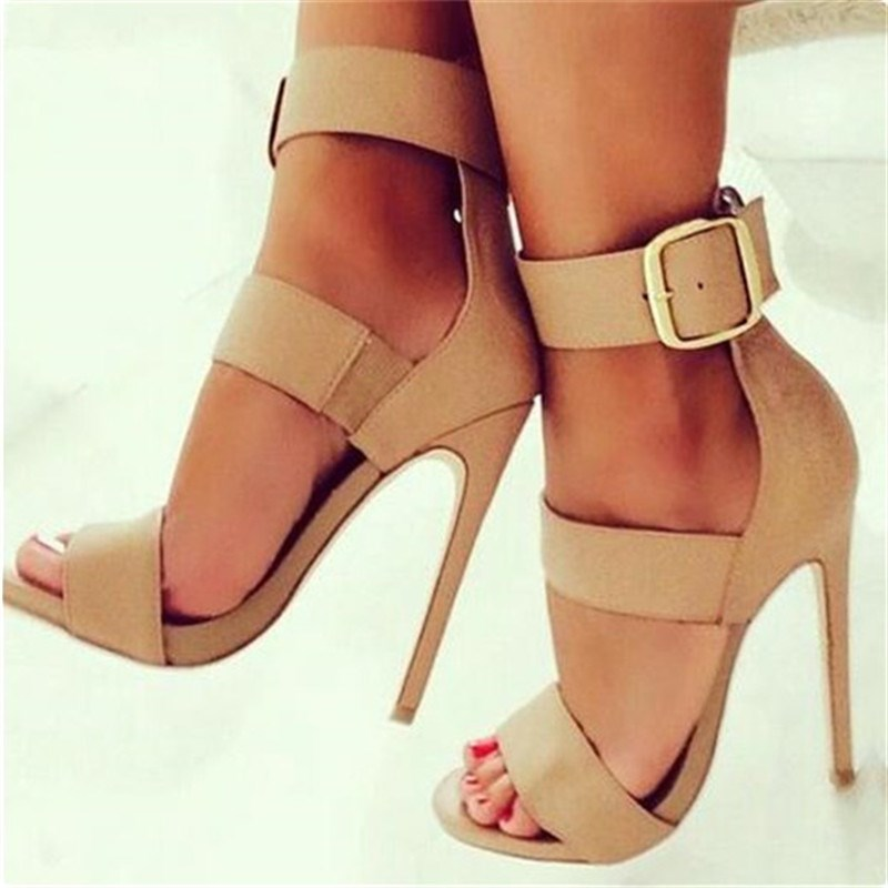 Khaki 5 Inch Heels Buckles Suede Wide Ankle Strap Sandals