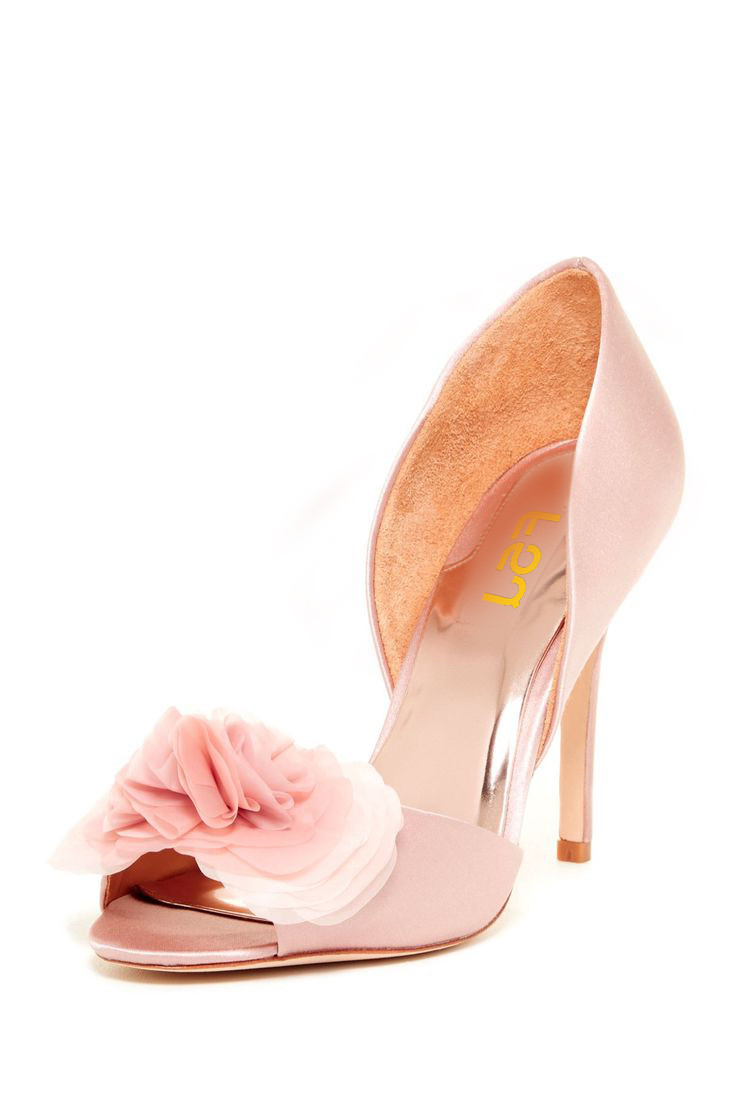 Pink Wedding Heels Floral Satin Double D'orday Pumps for Bridesmaid