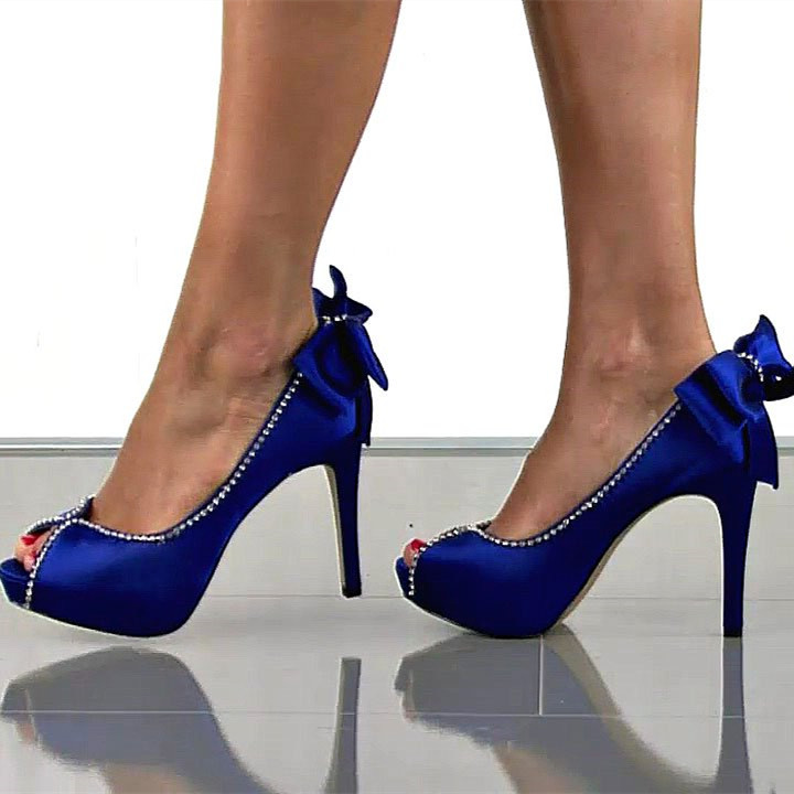 Royal Blue Wedding Shoes Peep Toe Satin Rhinestone Stiletto Heels Pumps with Bow