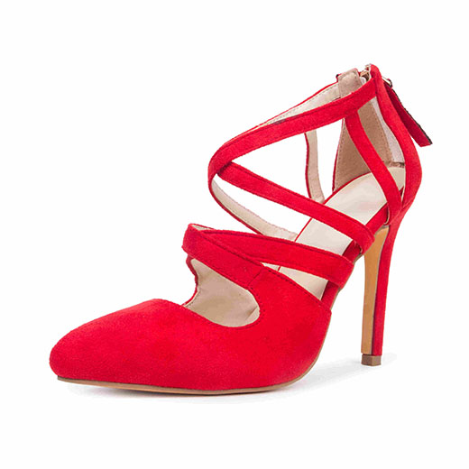 Women's Coral Red Crossed-over Ankle Straps Stiletto Heels Sandals
