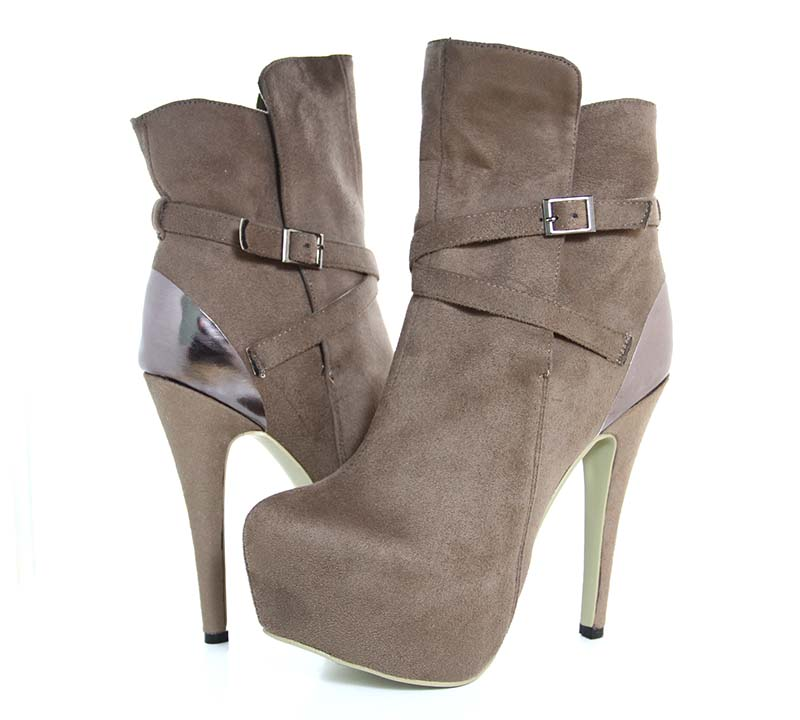 Brown Vintage Boots Suede Stiletto Heels Ankle Booties for Women