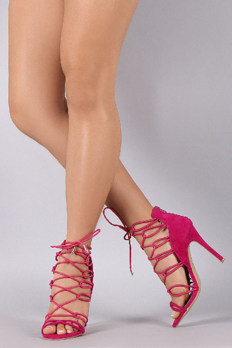 Hot Pink Strappy Sandals Lace up Open Toe Suede Stiletto Heels