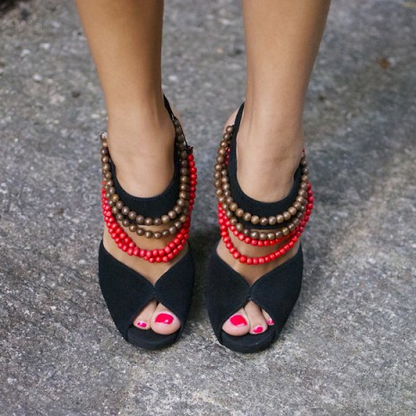 Black Slingback Heels Peep Toe Block Heel Sandals with String of Beads