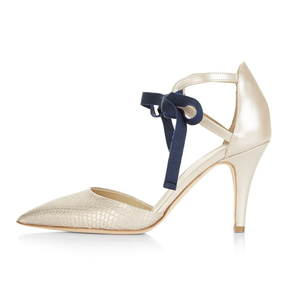 Women's White Strappy Pointed Toe Stiletto Heel Wedding Shoes