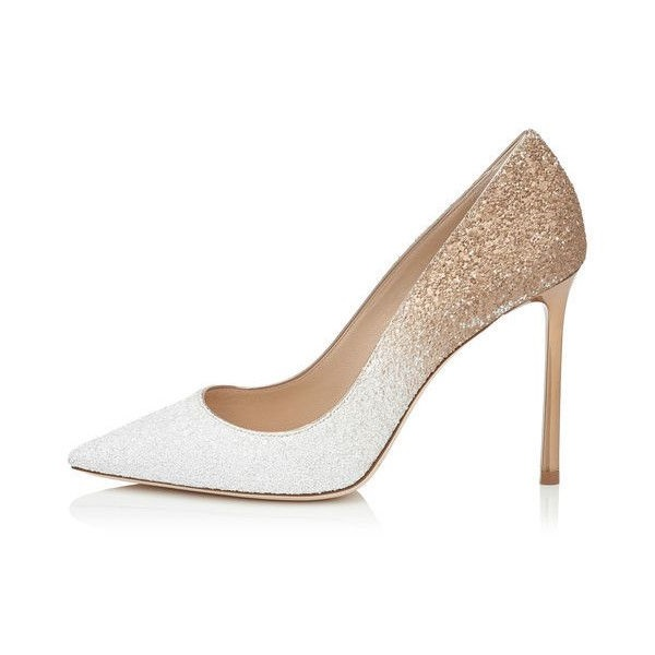 Women's White N Golden Pointed Toe Stiletto Heel Pumps Wedding Shoes