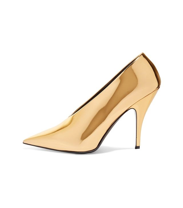 Gold Vintage Heels Mirror Leather Low-cut uppers Pointy Toe Pumps
