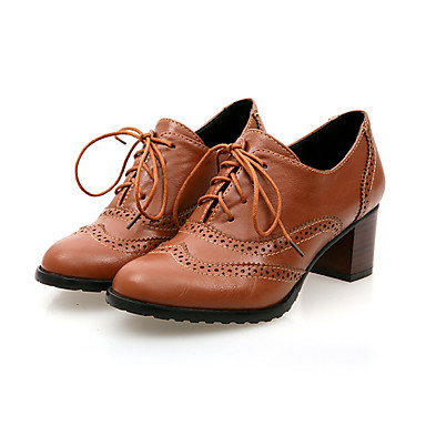 Women's  Brown Almond Toe Pumps  Lace-up Vintage Ankle Comfortable Leather Booties
