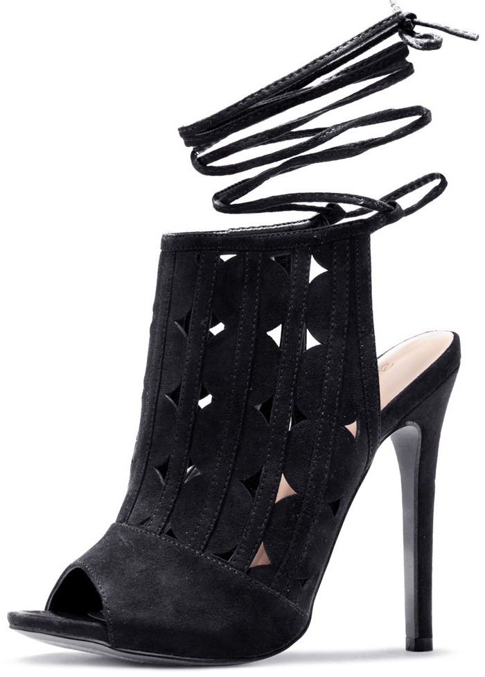 Women's Black Slingback Hollow Out Strappy Heels