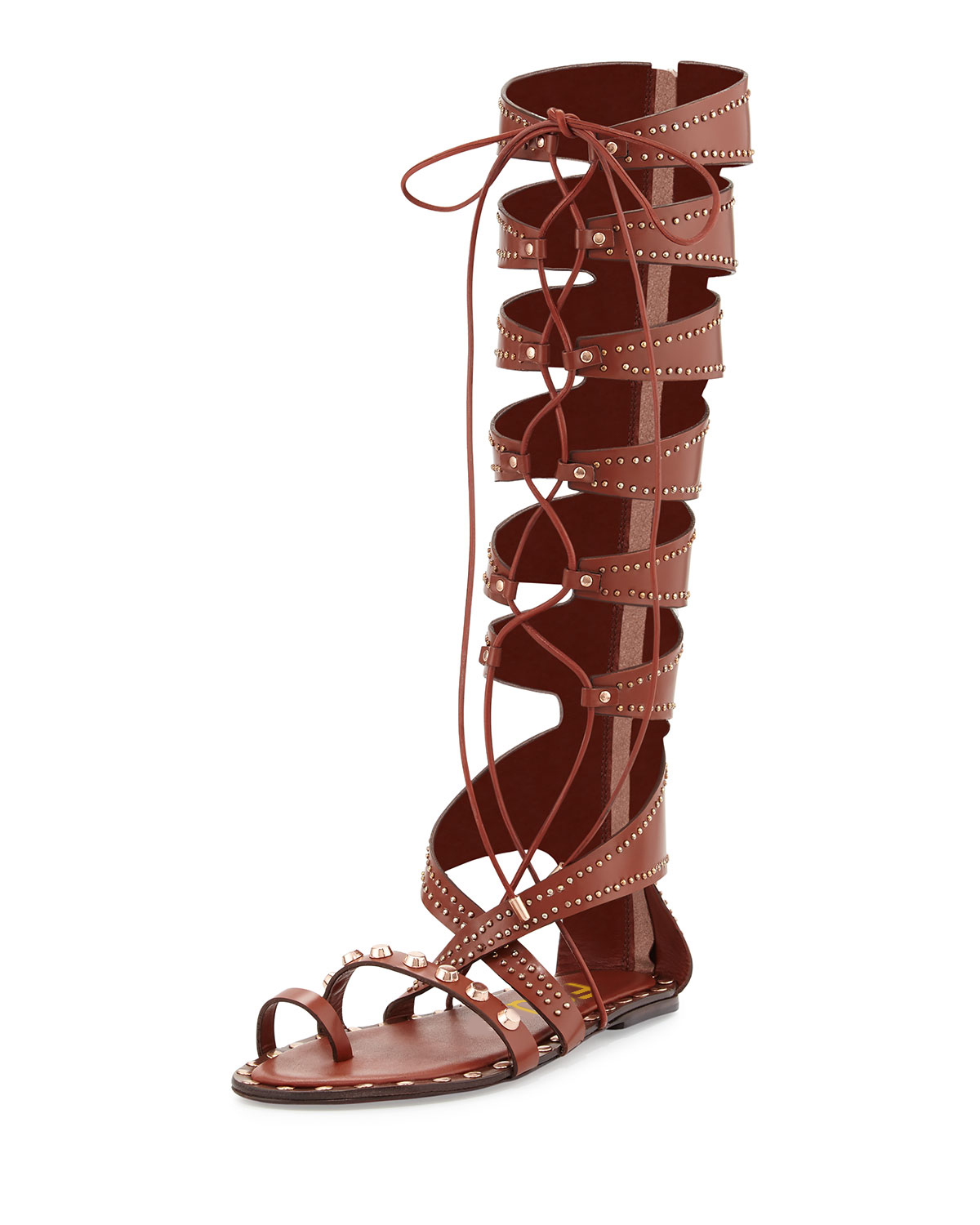 Brown Embellished Gladiator Sandals Lace-up Strappy Flats